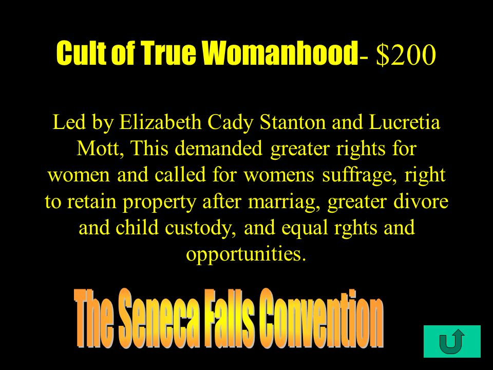 C1-$100 Cult of True Womanhood- $100 Women were required to be religously pious while keeping their husband's _____ in check
