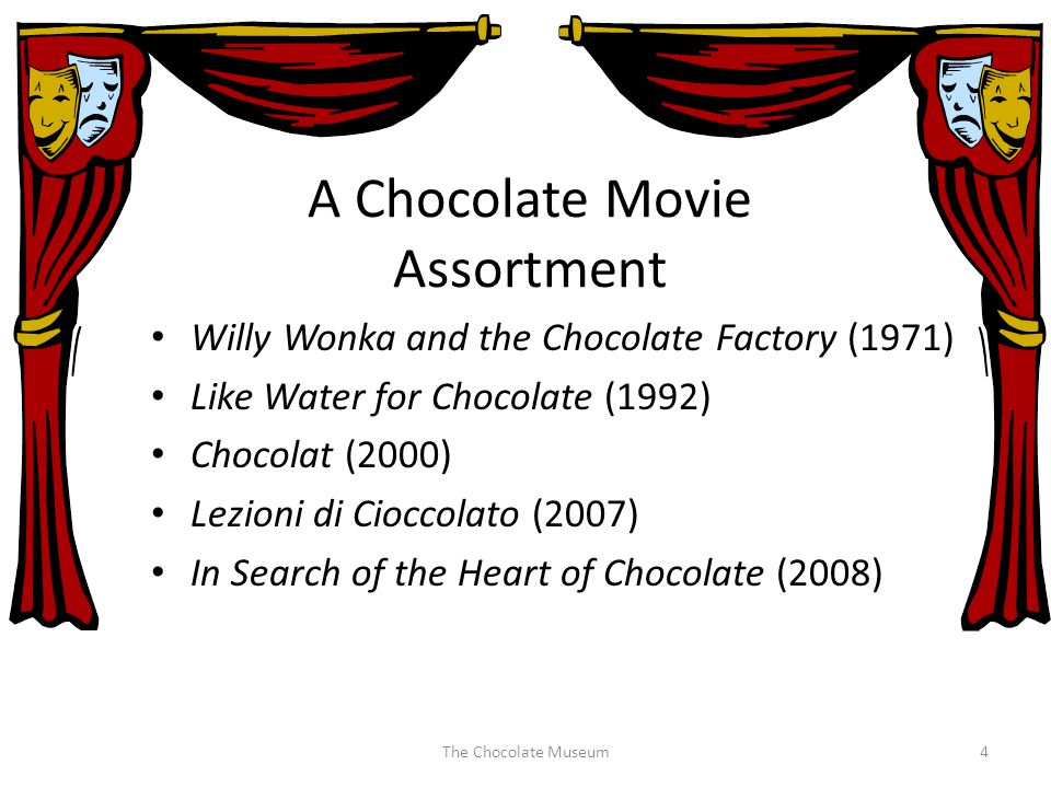 A Chocolate Movie Assortment Willy Wonka and the Chocolate Factory (1971) Like Water for Chocolate (1992) Chocolat (2000) Lezioni di Cioccolato (2007) In Search of the Heart of Chocolate (2008) The Chocolate Museum4