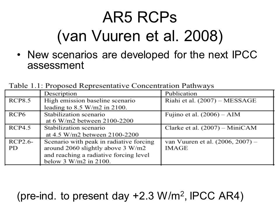 AR5 RCPs (van Vuuren et al. 2008) New scenarios are developed for the next IPCC assessment (pre-ind. to present day +2.3 W/m 2, IPCC AR4)