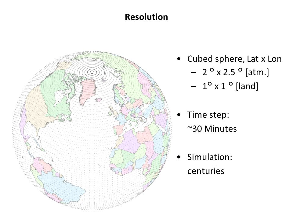 Resolution Cubed sphere, Lat x Lon – 2 ° x 2.5 ° [atm.] – 1° x 1 ° [land] Time step: ~30 Minutes Simulation: centuries