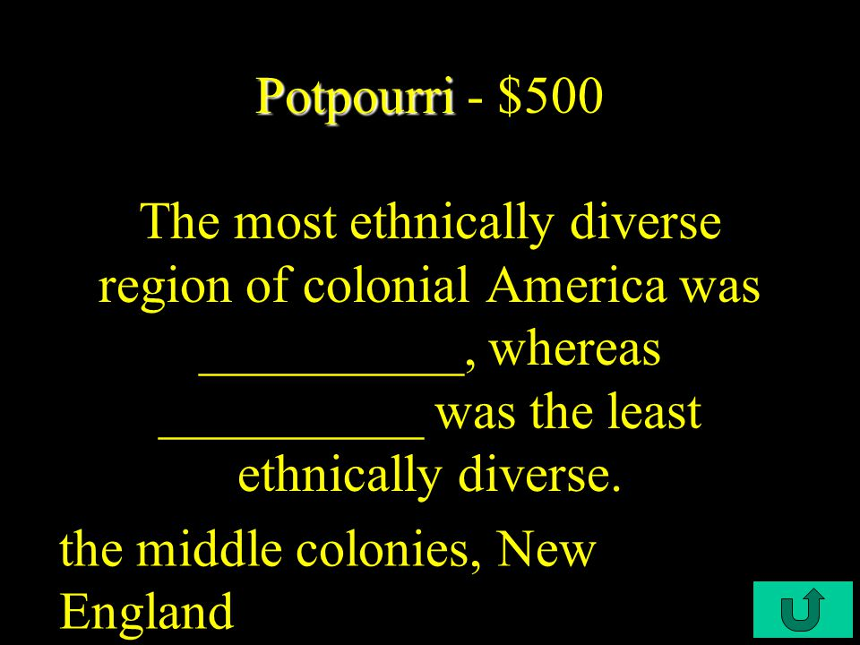 C2-$400 Potpourri Potpourri - $400 This allowed English settlers in America to retain their rights and privileges as English subjects.