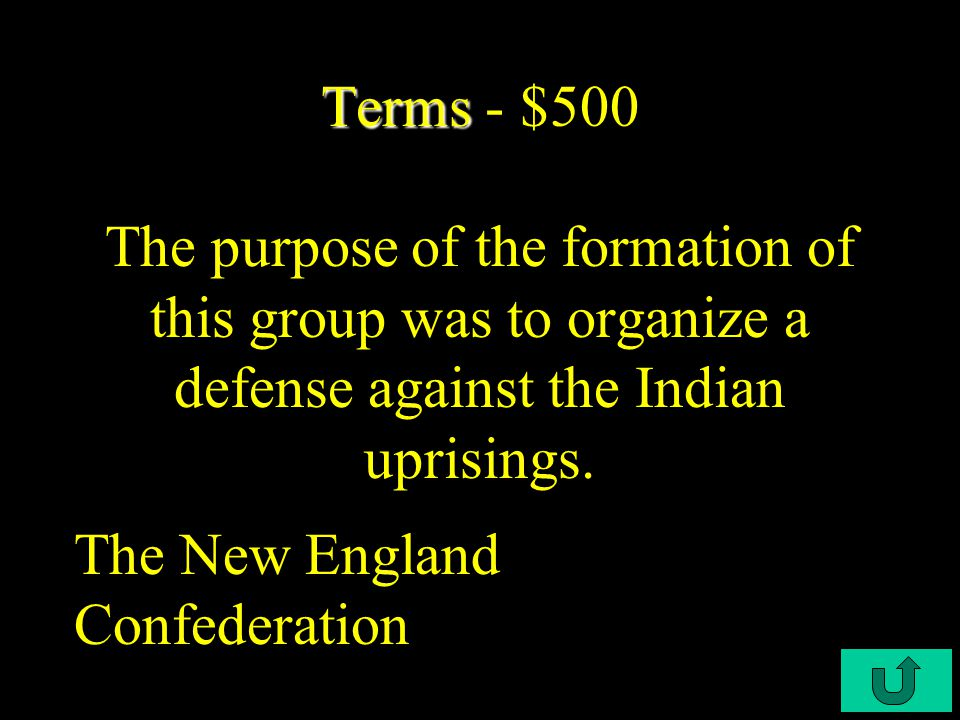 C3-$400 Terms Terms - $400 This made some people very wealthy, entailed giving the right to acquire 50 acres of land to the person paying the passage