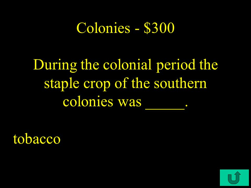 C4-$200 Colonies - $200 The New England Colony In which of the following colonies was public education most firmly established during the colonial period
