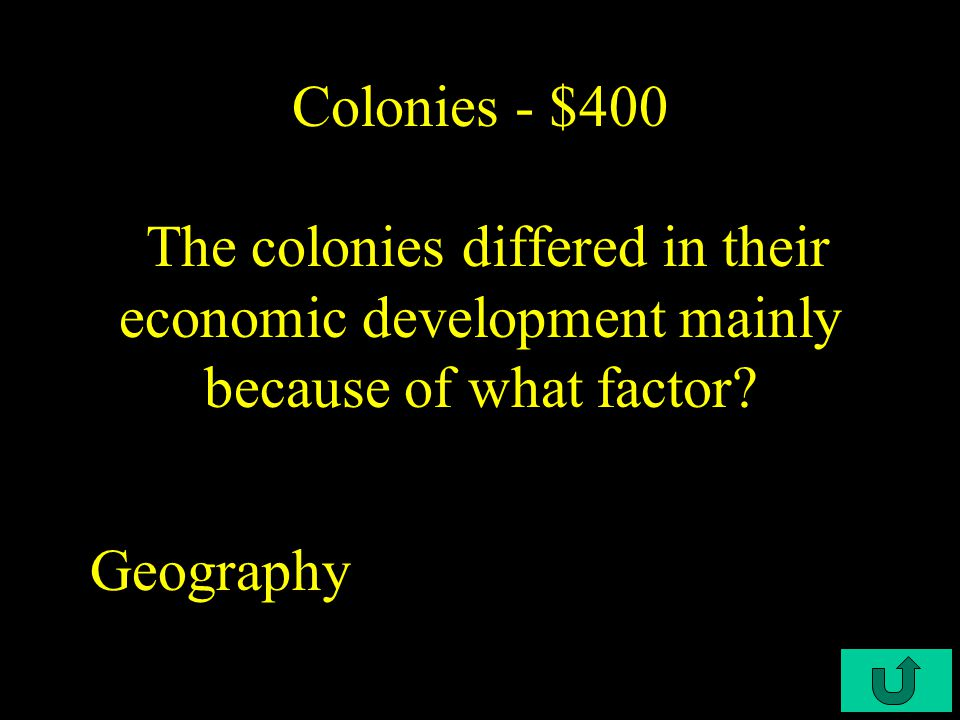 C4-$300 Colonies - $300 During the colonial period the staple crop of the southern colonies was _____.