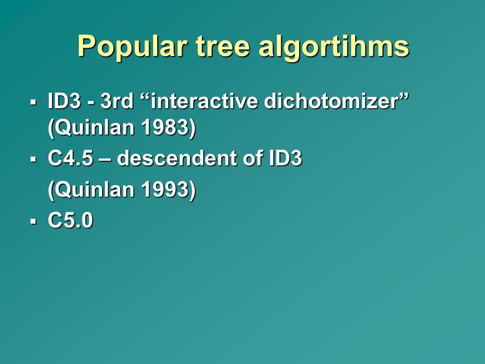 "Popular tree algortihms  ID3 - 3rd ""interactive dichotomizer"" (Quinlan 1983)  C4.5 – descendent of ID3 (Quinlan 1993)  C5.0"