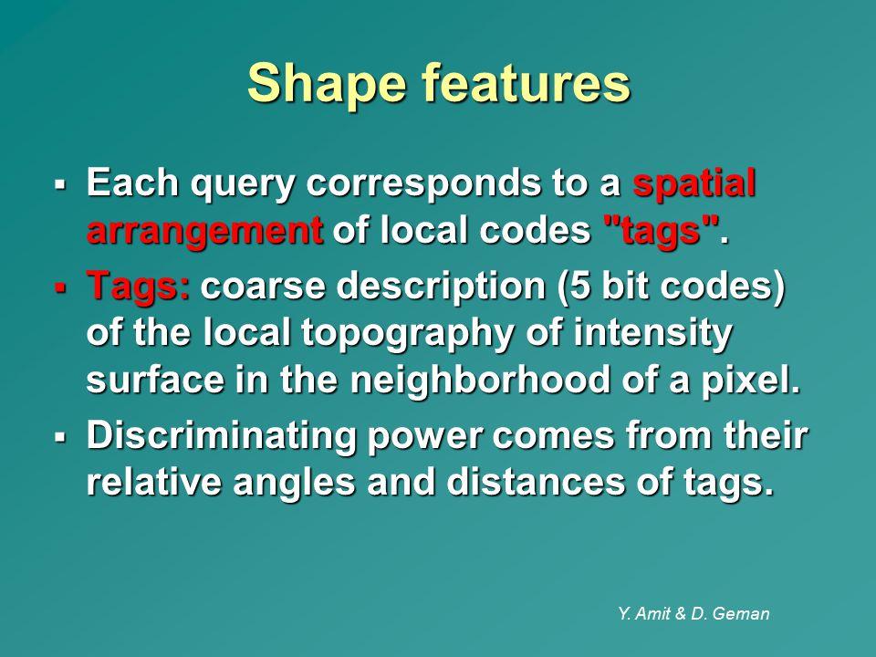 Y. Amit & D. Geman Shape features  Each query corresponds to a spatial arrangement of local codes