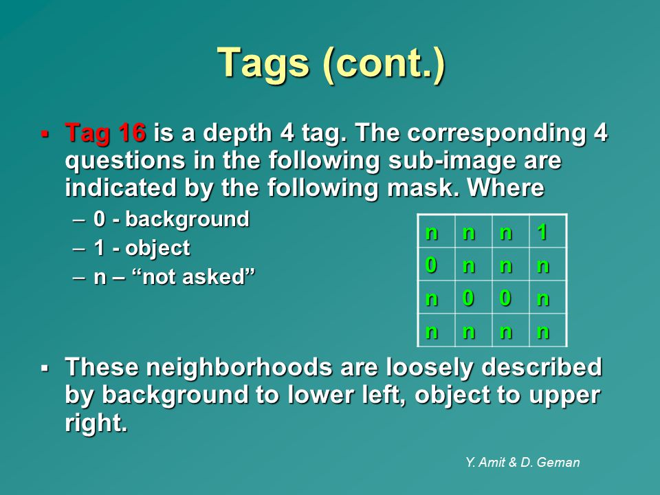 Y. Amit & D. Geman Tags (cont.)  Tag 16 is a depth 4 tag. The corresponding 4 questions in the following sub-image are indicated by the following mas
