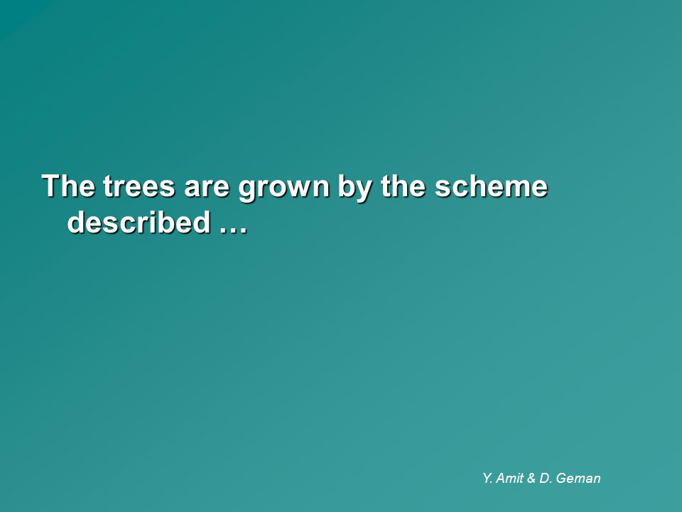 Y. Amit & D. Geman The trees are grown by the scheme described …