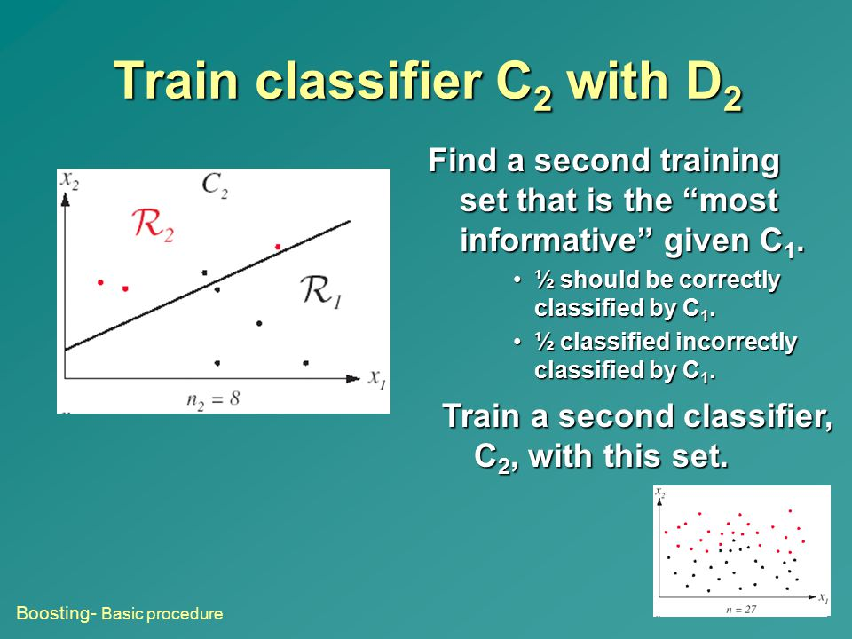 """Train classifier C 2 with D 2 Find a second training set that is the """"most informative"""" given C 1. ½ should be correctly classified by C 1.½ should be"""