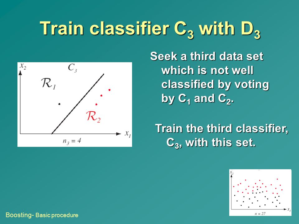 Train classifier C 3 with D 3 Seek a third data set which is not well classified by voting by C 1 and C 2. Train the third classifier, C 3, with this