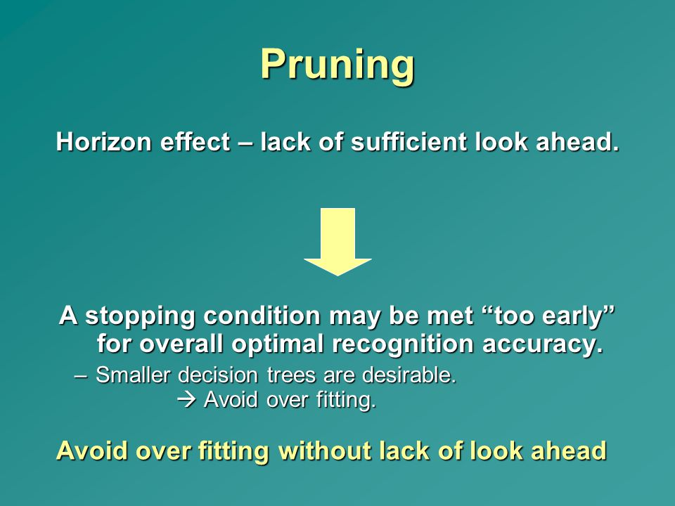 """Pruning Horizon effect – lack of sufficient look ahead. A stopping condition may be met """"too early"""" for overall optimal recognition accuracy. –Smaller"""