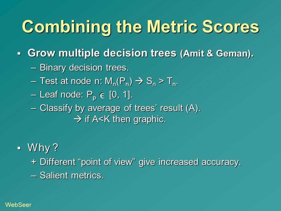 Combining the Metric Scores  Grow multiple decision trees (Amit & Geman). –Binary decision trees. –Test at node n: M n (P n )  S n > T n. –Leaf node