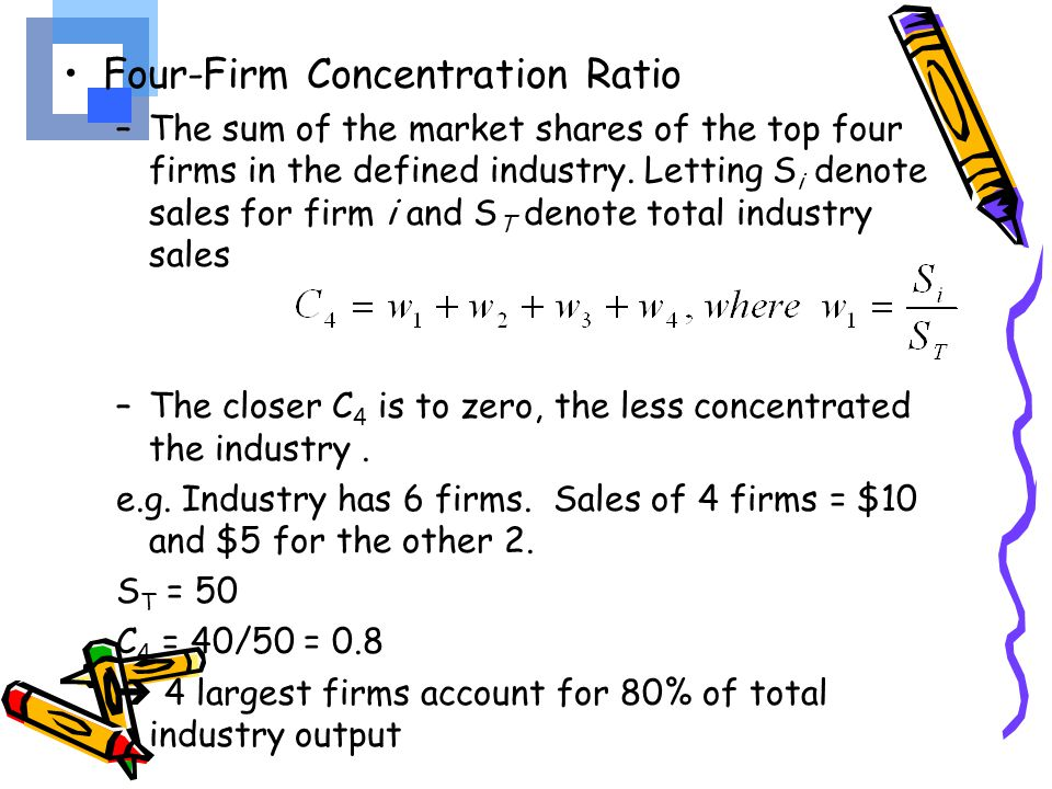 Herfindahl-Hirschman Index (HHI) –The sum of the squared market shares of firms in a given industry, multiplied by 10,000 (to eliminate decimals): –By squaring the market shares, the index weights firms with high market shares more heavily –HHI = 10,000   w i 2, where w i = S i /S T.