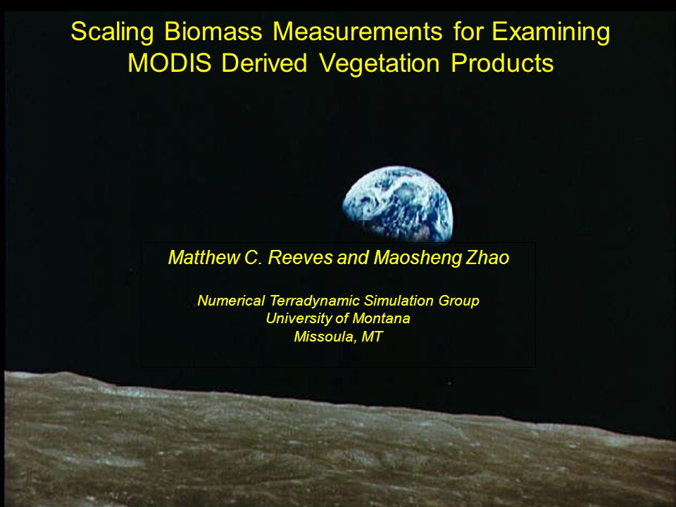 Scaling Biomass Measurements for Examining MODIS Derived Vegetation Products Matthew C. Reeves and Maosheng Zhao Numerical Terradynamic Simulation Gro
