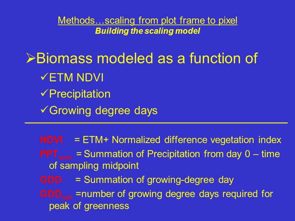  Biomass modeled as a function of ETM NDVI Precipitation Growing degree days NDVI = ETM+ Normalized difference vegetation index PPT sum = Summation o