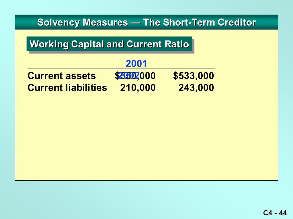 C4 - 44 Solvency Measures — The Short-Term Creditor Current assets $550,000$533,000 Current liabilities 210,000 243,000 Working Capital and Current Ratio 2001 2002