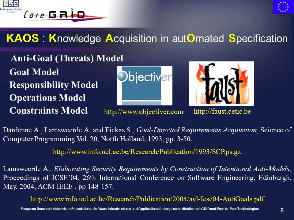 European Research Network on Foundations, Software Infrastructures and Applications for large scale distributed, GRID and Peer-to-Peer Technologies 8 KAOS : K nowledge A cquisition in aut O mated S pecification Dardenne A., Lamsweerde A.