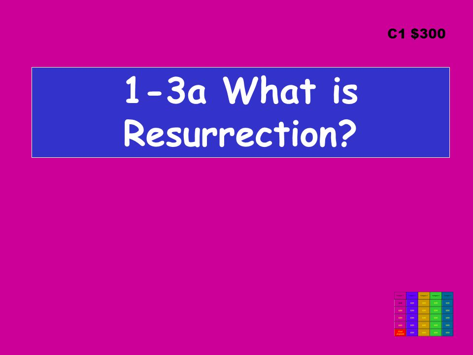 1-3a What is Resurrection C1 $300