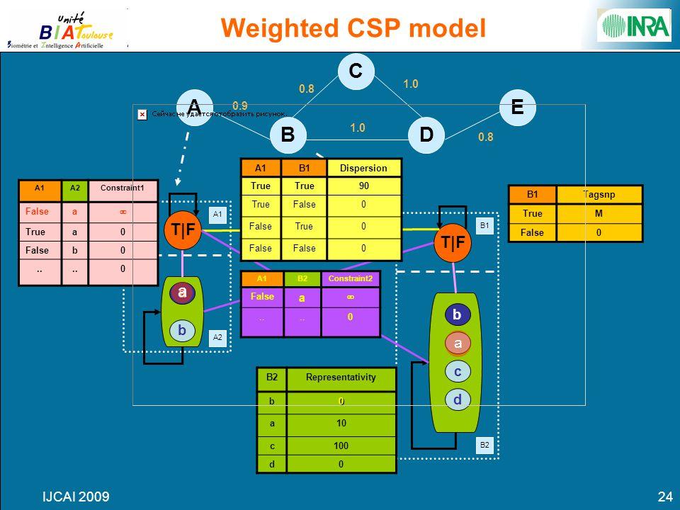 IJCAI 200924 A1 A2 B1 B2 T|F a c d b b a D C B AE Weighted CSP model 1.0 0.8 0.9 1.0 0.8 B2Representativity b0 a10 c100 d0 A1B2Constraint2 False a ..