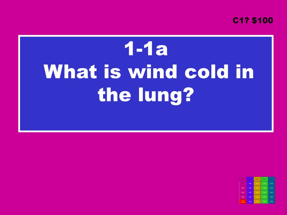 1-1a What is wind cold in the lung C1 $100