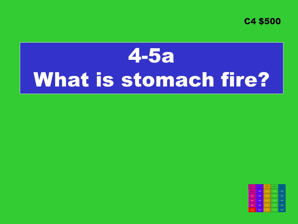 C4 $500 4-5a What is stomach fire