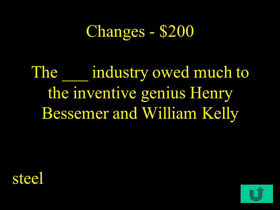 C1-$200 Changes - $200 The ___ industry owed much to the inventive genius Henry Bessemer and William Kelly steel