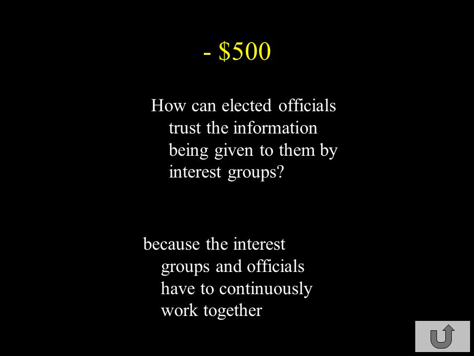 - $400 what is the main objective of interest groups.