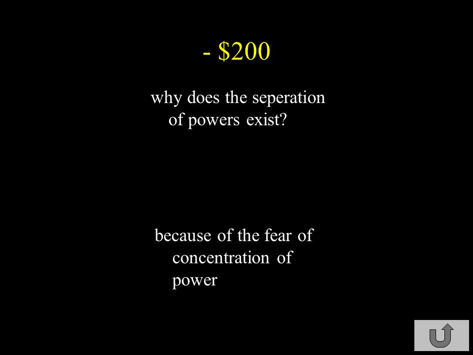- $100 how is the government divided so there won t be concentration of power.