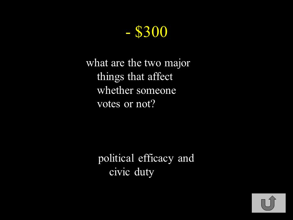 - $300 what are the two major things that affect whether someone votes or not.