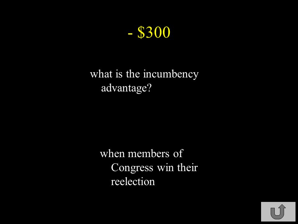 - $300 what is the incumbency advantage? when members of Congress win their reelection C3-$300