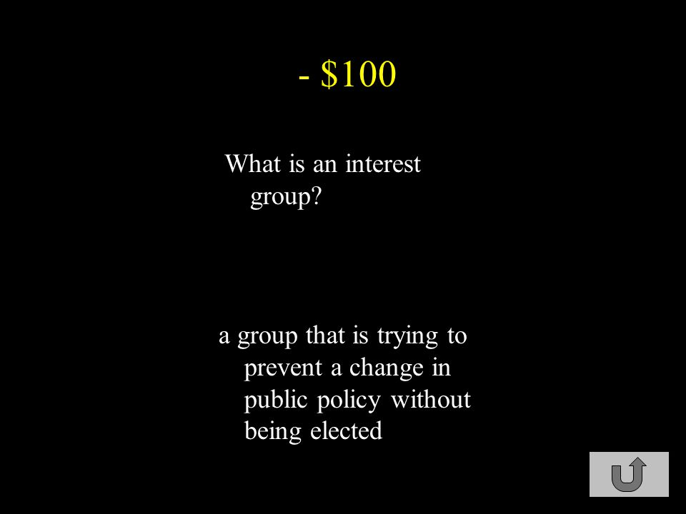 - $100 What is an interest group.