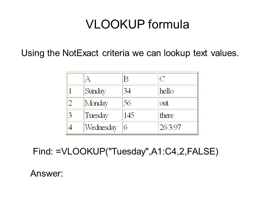 VLOOKUP formula Using the NotExact criteria we can lookup text values.