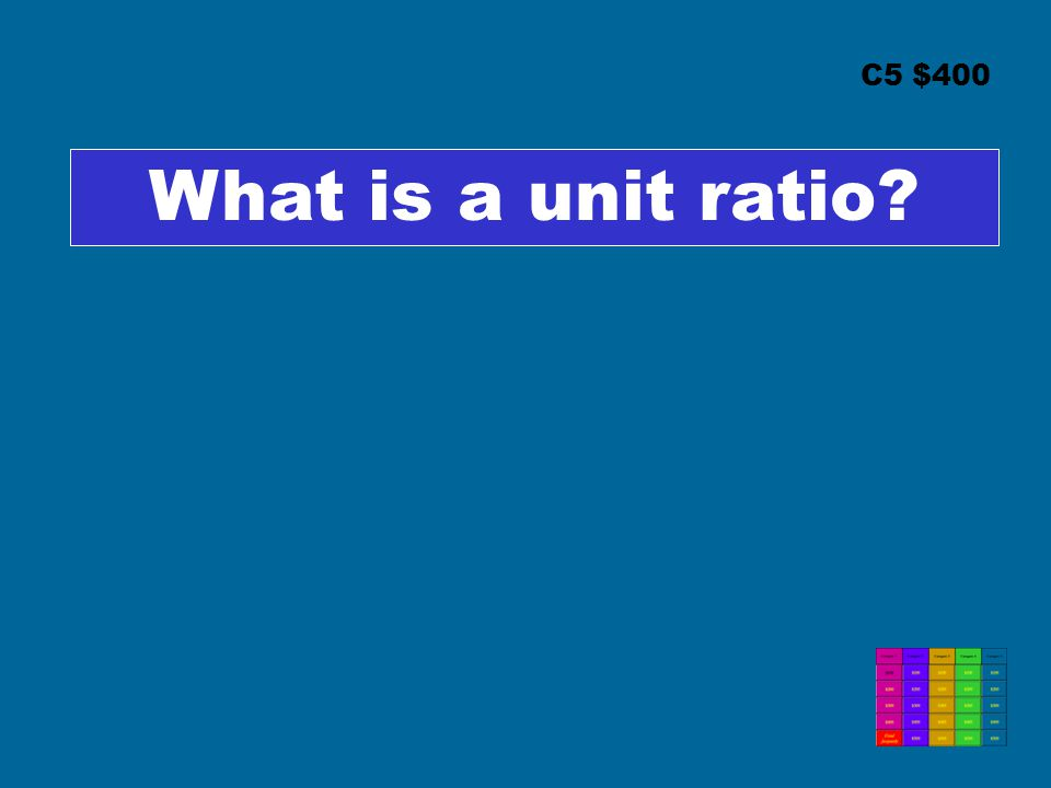 C5 $400 What is a unit ratio