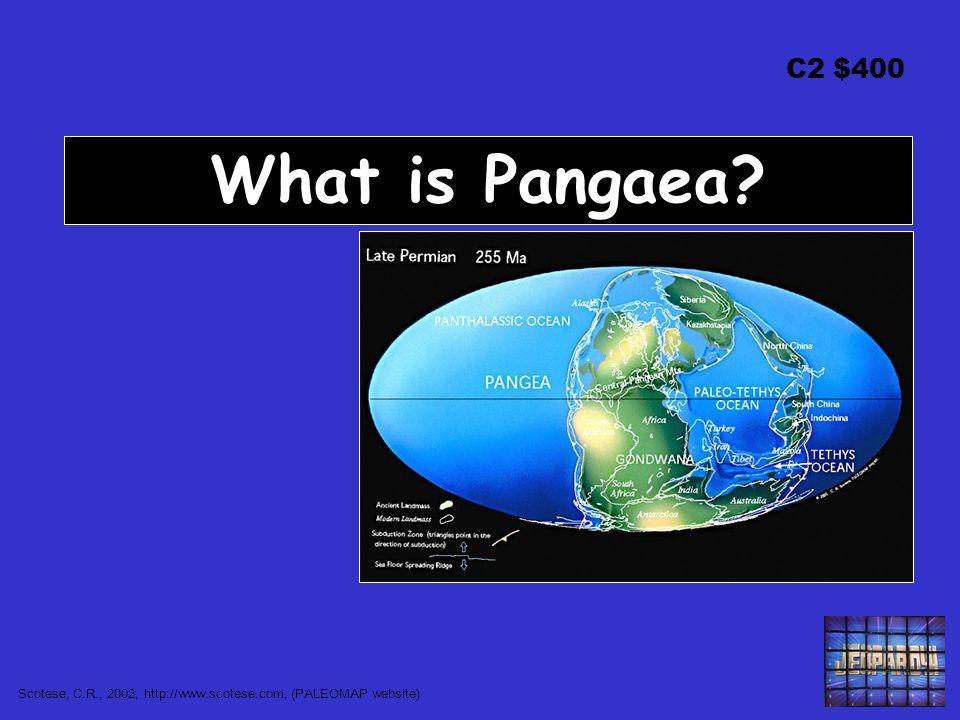 C2 $400 What is Pangaea? Scotese, C.R., 2002, http://www.scotese.com, (PALEOMAP website)