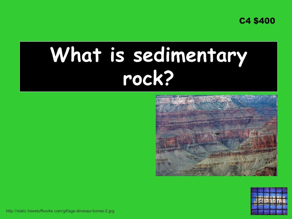 C4 $400 What is sedimentary rock? http://static.howstuffworks.com/gif/age-dinosaur-bones-2.jpg
