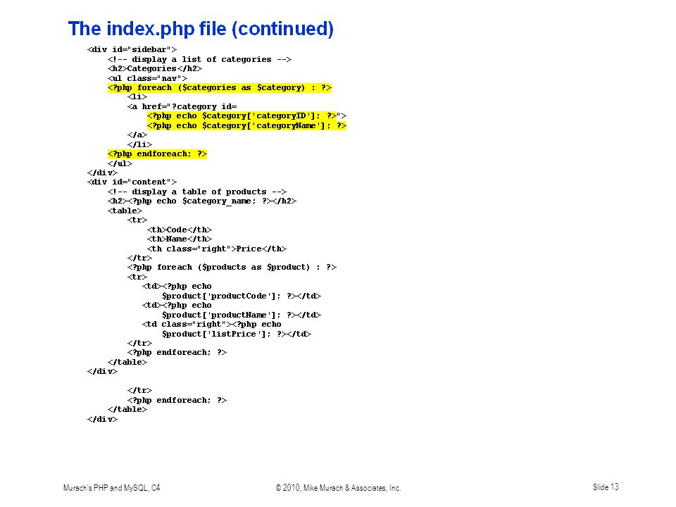 Murach s PHP and MySQL, C4© 2010, Mike Murach & Associates, Inc.Slide 13