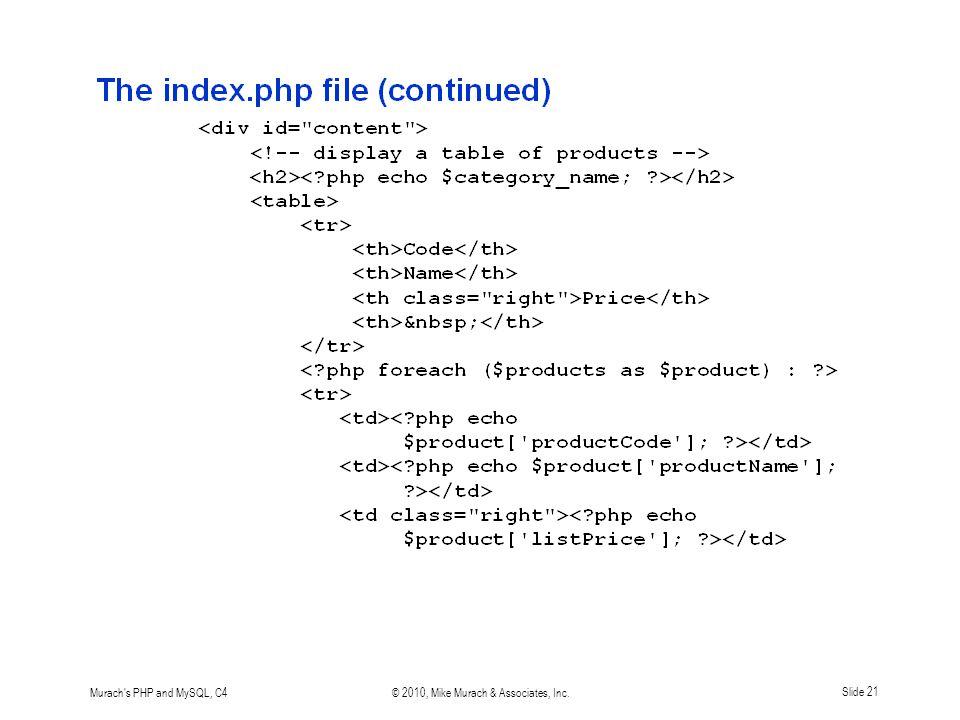 Murach s PHP and MySQL, C4© 2010, Mike Murach & Associates, Inc.Slide 21