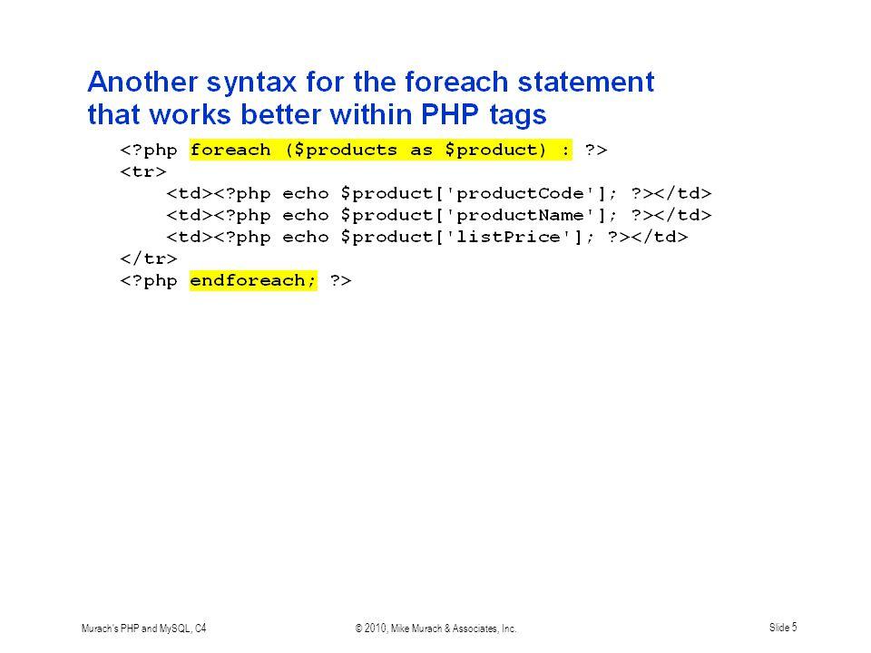 Murach s PHP and MySQL, C4© 2010, Mike Murach & Associates, Inc.Slide 5