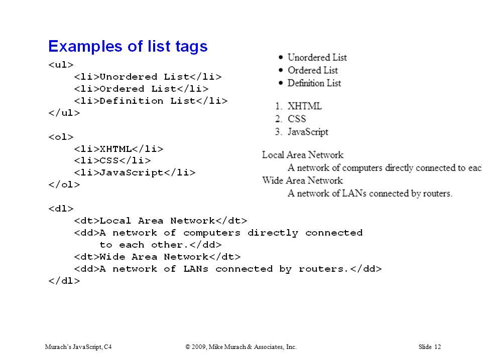 Murach's JavaScript, C4© 2009, Mike Murach & Associates, Inc.Slide 12