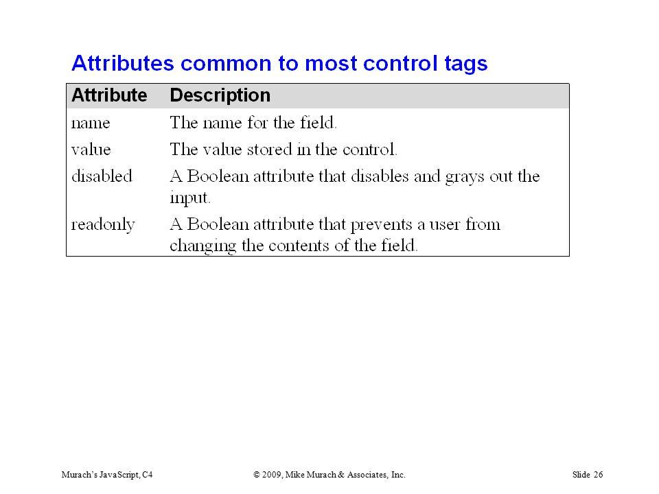 Murach's JavaScript, C4© 2009, Mike Murach & Associates, Inc.Slide 26
