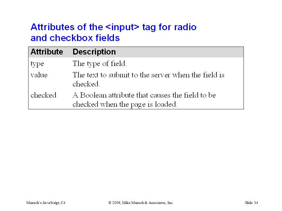 Murach's JavaScript, C4© 2009, Mike Murach & Associates, Inc.Slide 34