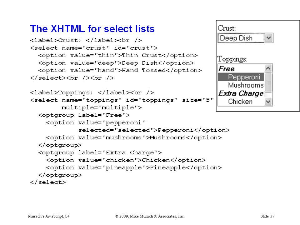 Murach's JavaScript, C4© 2009, Mike Murach & Associates, Inc.Slide 37