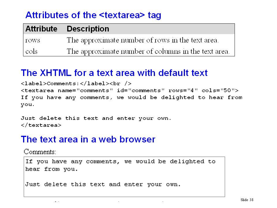 Murach's JavaScript, C4© 2009, Mike Murach & Associates, Inc.Slide 38
