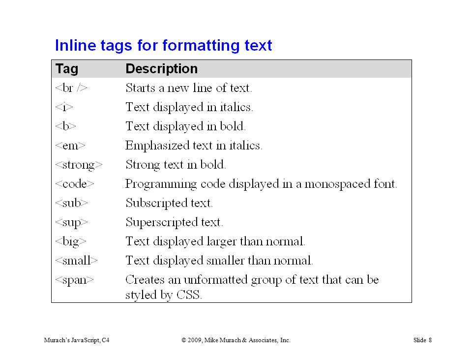 Murach's JavaScript, C4© 2009, Mike Murach & Associates, Inc.Slide 8