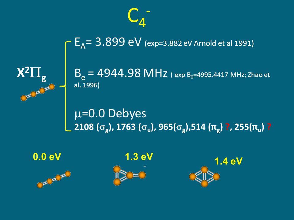 C4-C4- E A = 3.899 eV (exp=3.882 eV Arnold et al 1991) B e = 4944.98 MHz ( exp B 0 =4995.4417 MHz; Zhao et al.