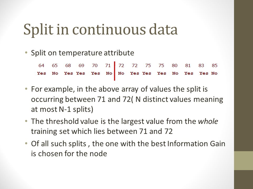 Split in continuous data Split on temperature attribute For example, in the above array of values the split is occurring between 71 and 72( N distinct
