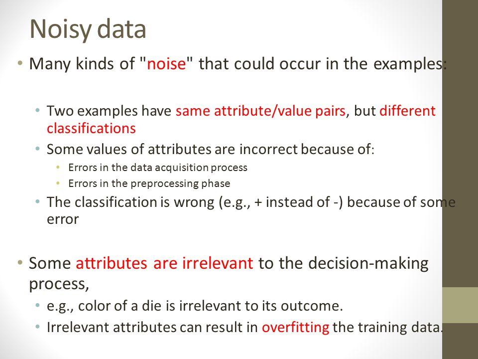 Noisy data Many kinds of