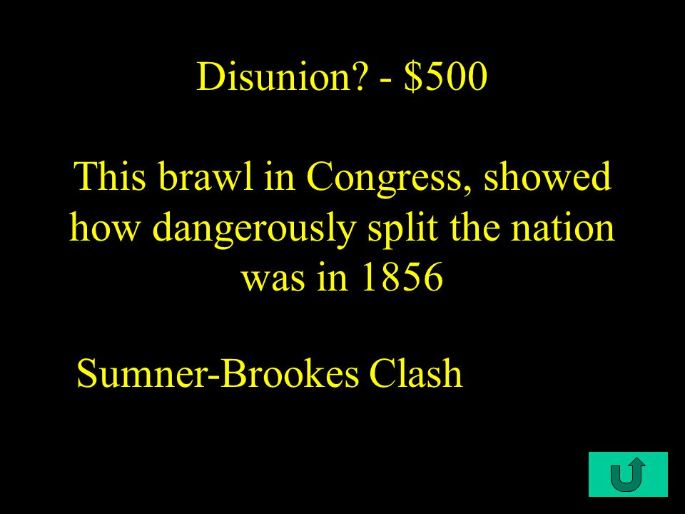 C1-$400 Disunion - $400 This made slavery appear as evil as it actually was Uncle Tom's Cabin