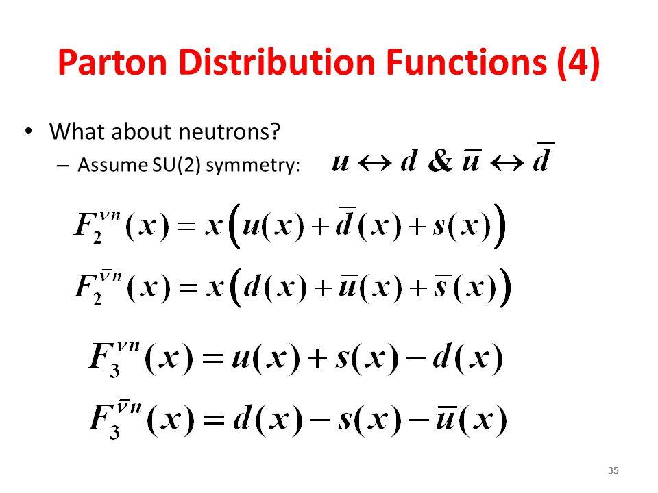35 Parton Distribution Functions (4) What about neutrons? – Assume SU(2) symmetry: