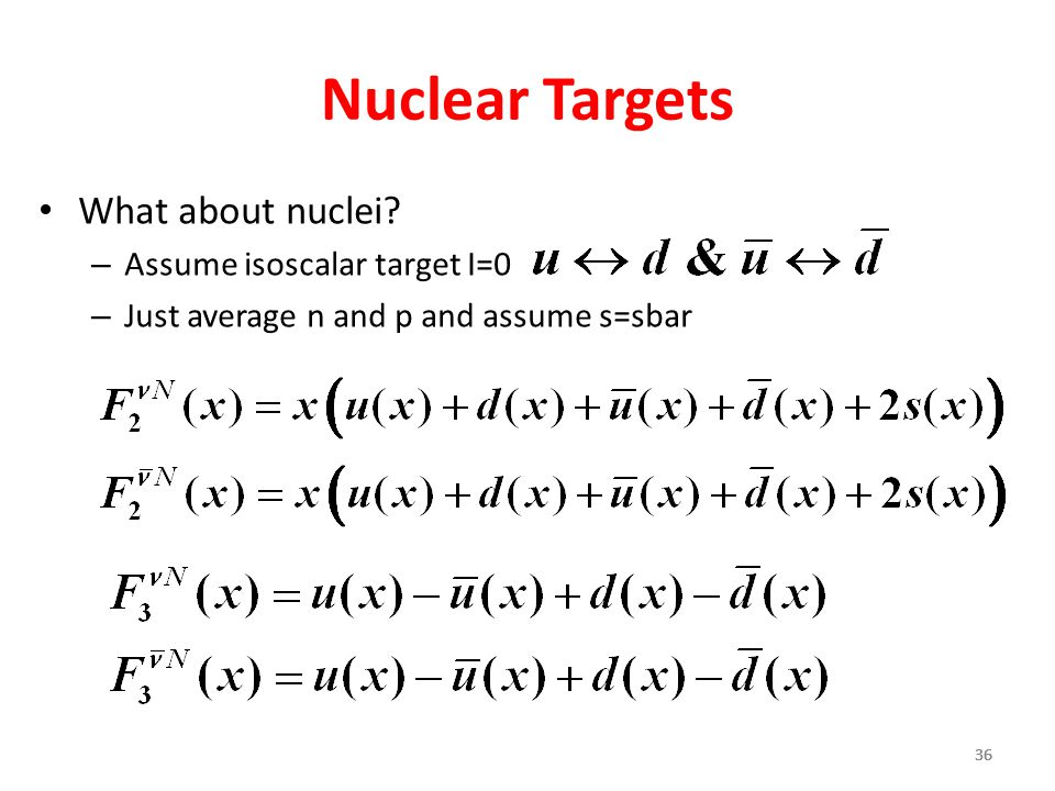 36 Nuclear Targets What about nuclei.